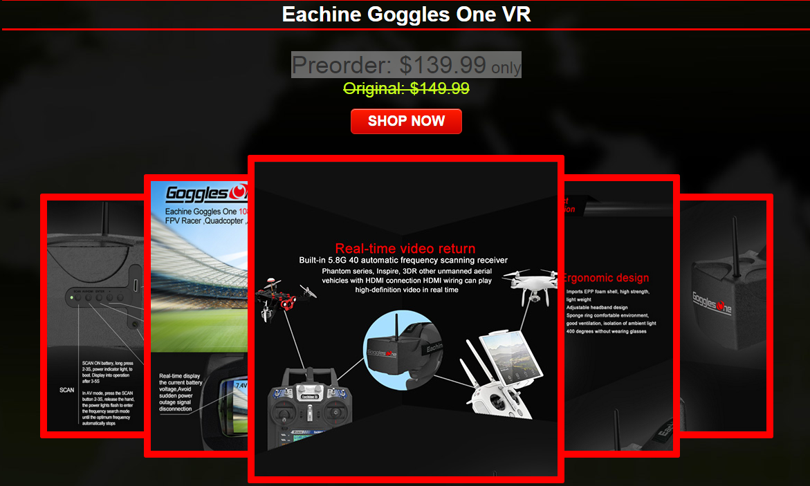 eachine goggles one VR promotion - Diatone Tyrant 150 150mm FPV Racing Drone PNF