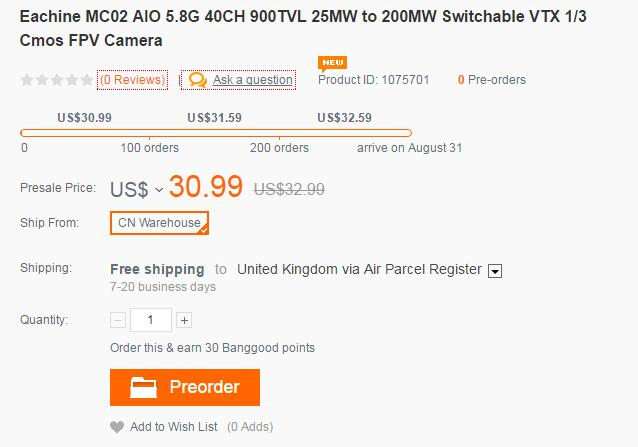 Eachine MC02 price - Eachine MC02 AIO 5.8G 40CH 900TVL 1/3 Cmos FPV Camera