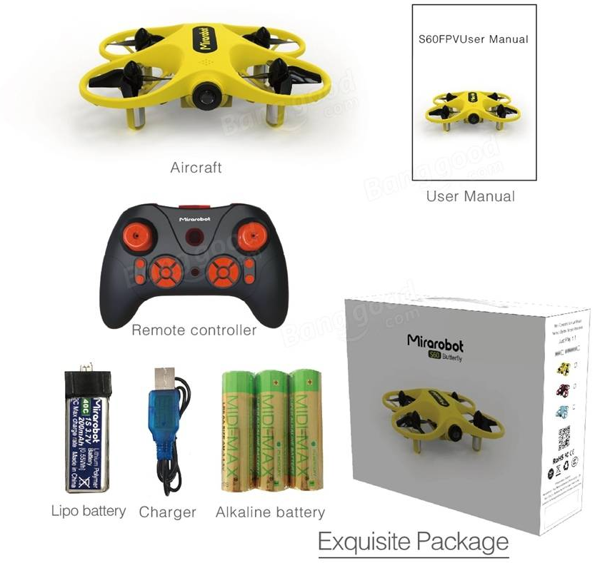 Mirarobot S60 Package Includes - Mirarobot S60 Micro FPV Racing Quadcopter
