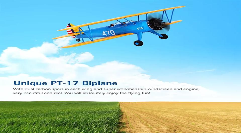 Hookll PT 17 Biplane - Hookll PT-17 1200mm Wingspan Biplane