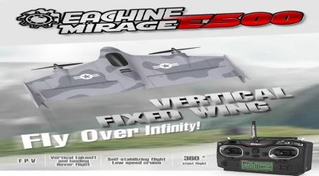 Eachine Mirage E500 500mm RC Airplane RTF – Grey